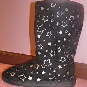 Airwalk Shoes - Airwalk Emma Star Cozy Black and Silver Boots